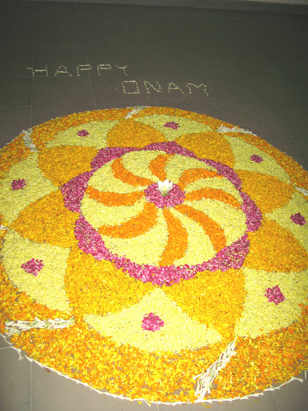 The evening before, several students spent many hours arranging flour petals.