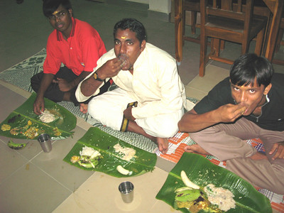 Guests eat the meal with their fingers, which is normal in India.
