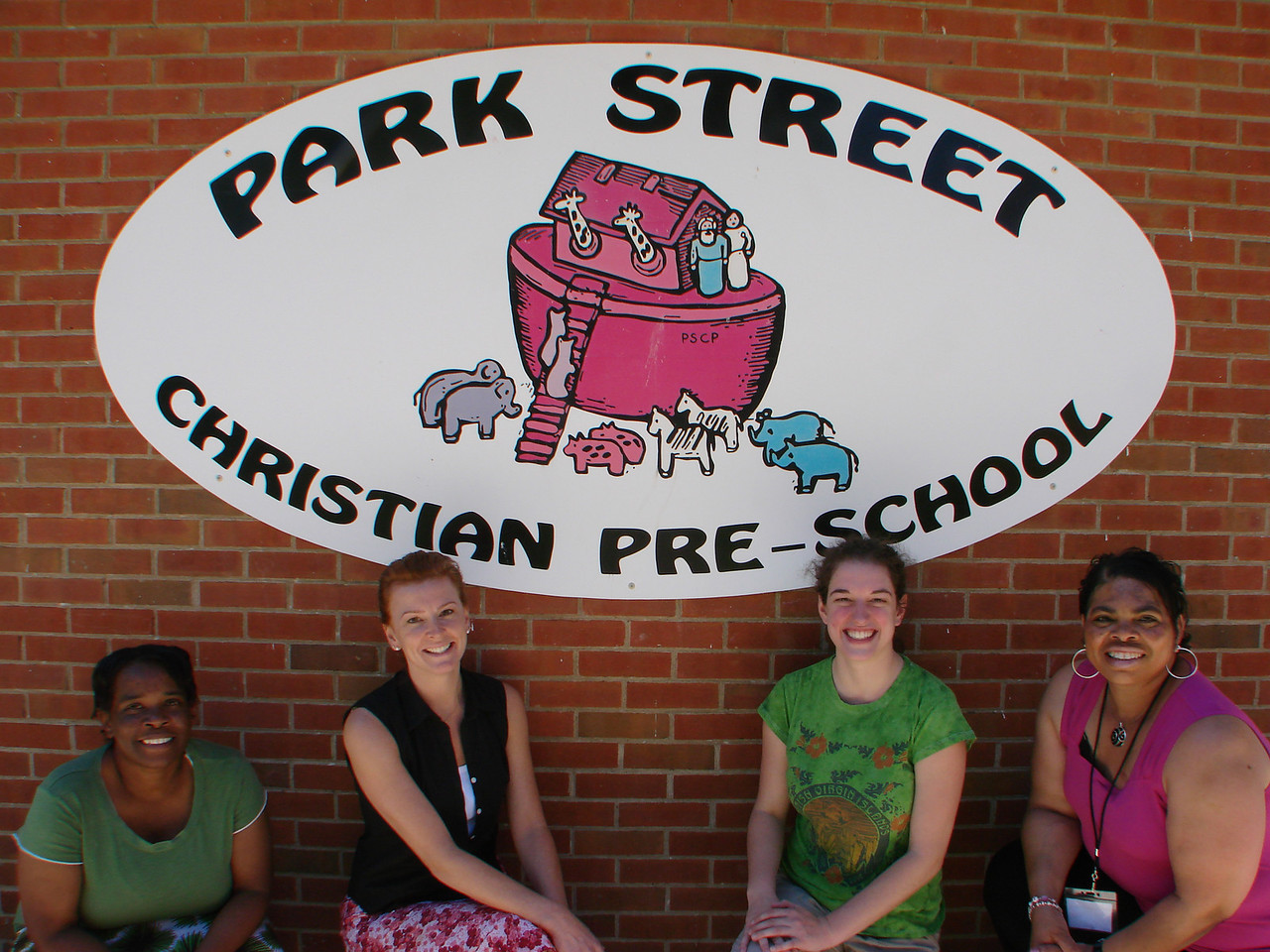 Park Street Christian Preschool Staff, Peggy Turner, Teacher, Angie Taylor, Director, Amy Hastings, Afternoon Assistant, Carolyn Walker, Aassitant Director and Teacher (not pictured Cheryl Strother, Teacher)