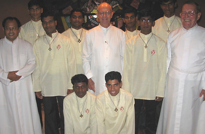 The Postulants with the Fr. Tom,  program director (center), Fr. Teja, the superior of the community (left), and Fr. Martin, District Superior (right).