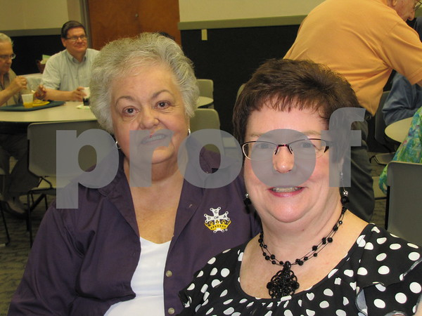 Cousins Marilyn Savage and Kathleen (Hay) Bednar pose for a picture while visiting at the Priest Jubilee Celebration breakfast.