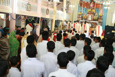 The procession into the church.