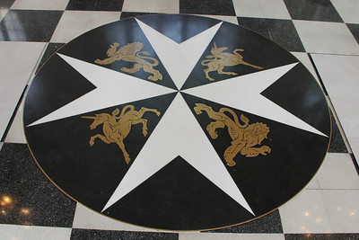 Maltese Cross in the floor of the Priory Church of St John. 23 May 2012