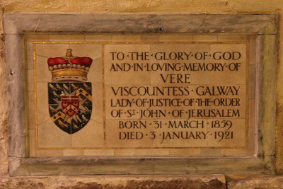 Memorial plaque to Viscountess Galway in the Crypt of the Priory Church of St John. 23 May 2012
