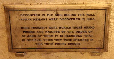 Memorial plaque in the Crypt of the Priory Church of St John. 23 May 2012