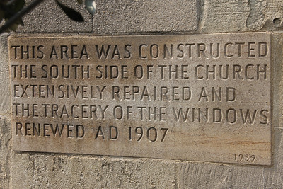 Restoration stone inscription in the garden of the Priory Church of St John. 23 May 2012