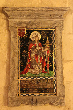 Memorial plaque to Colonel Sir Herbert Perrott  in the Crypt of the Priory Church of St John. 23 May 2012