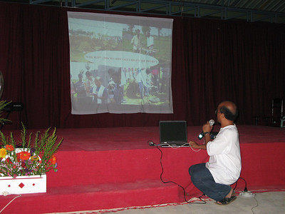 Fr. Kus, Superior of the Eluru community,  gives a video presentation about the construction process of Christu Dehon Nivas.