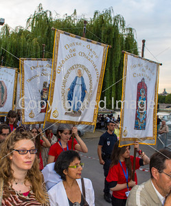 Paris, France, Christian Pilgrims Celebrating August 15, Assumption of the Virgin Mary, with Boat Ride on the Seine River