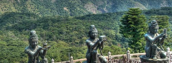 Three of the six Devas offering to the Tian Tan Buddha, Lantau Island, Hong Kong
