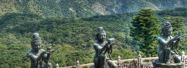 Three of the six Devas offering to the Tian Tan Buddha, Lantau Island, Hong Kong