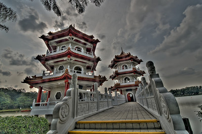 Twin Buddhist Pagodas in Chinese Gardens, Singapore