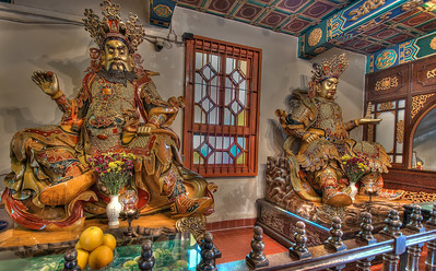 Guardian Gods en route to the Po Lin Monastery entrance, Lantau island, Hong Kong