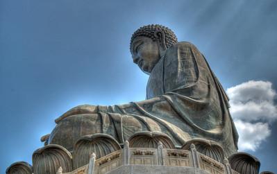 "34 meters high, the Tian Tan ""Buddha Amoghasiddhi"" lays His benign glance on the Chinese mainland facing north. Lantau island, Hong Kong"