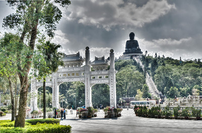 The famous Big Buddha of Hong Kong, Lantau Island