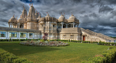 """The grandest Hindu Temple in Canada, Swami Narayan Temple on Finch Ave/Hwy 427 (Etobicoke), was completed in 2007. Built of intricately carved white marble (most of them carved in India & shipped to Toronto), this temple was opened by the Head of Swaminarayan Sect, Sri Pramukh Swami Maharaj and the Prime Minister of Canada, Mr Stephen Harper. Christopher Hume, a Toronto Star columnist commented on its opening day, """"...it is one of the most extraordinary buildings ever built in this country"""""""