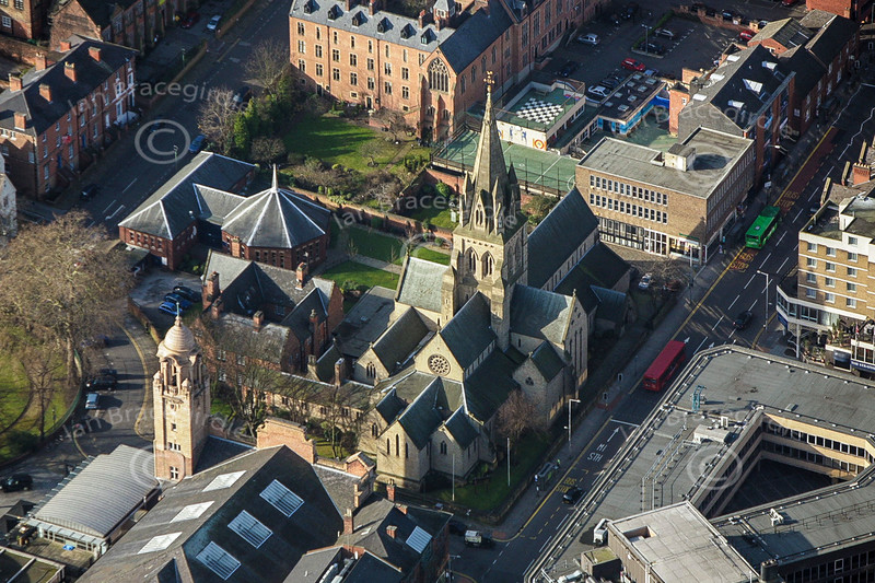 Aerial photo of Nottingham Cathedral.