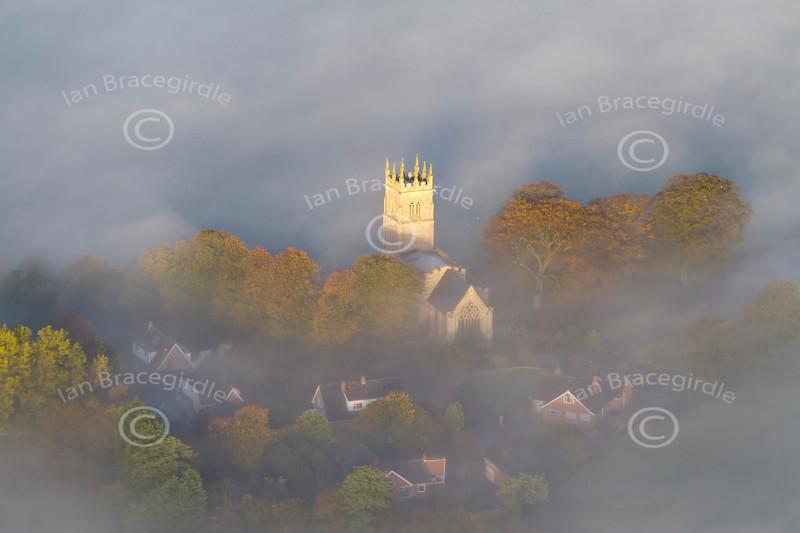 Aerial photo of Hawton Church.