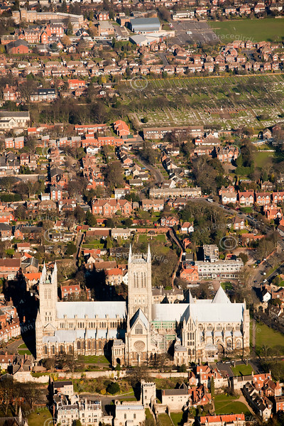 Lincoln Cathedral from the air.