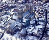 A stock aerial photo of Lincoln Cathedral in the snow.