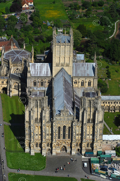 Aerial photo of Wells Cathedral.