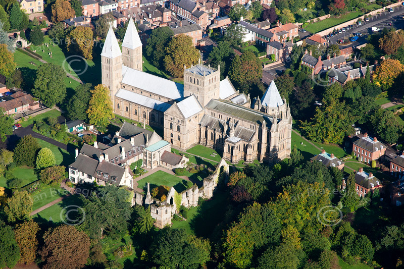 An aerial photo of Southwell Minster.