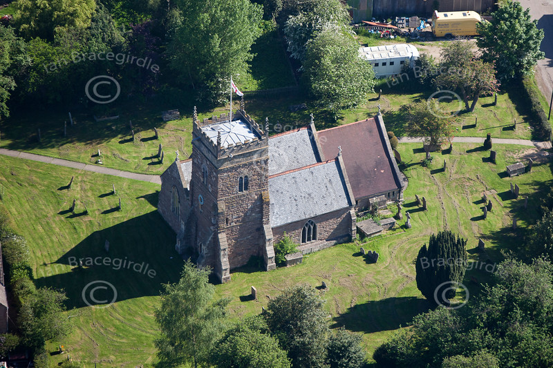 Aerial photo of Wellow Church.
