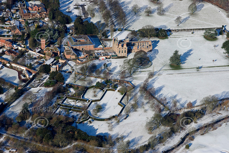 Aerial photo of Rufford Abbey in the snow.