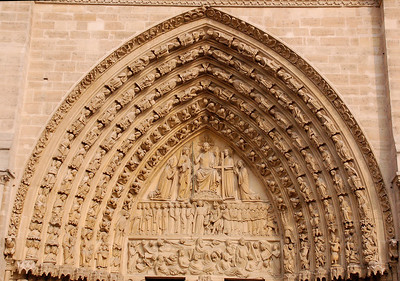 Order (or receding arch) over Portal--Notre Dame (Paris, France)