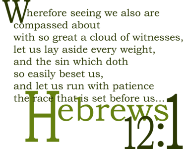 So great a cloud of witnesses (Hebrews 12:1) Lettering is on a clear background. Will print on shirts, cups, etc. with background color the item.