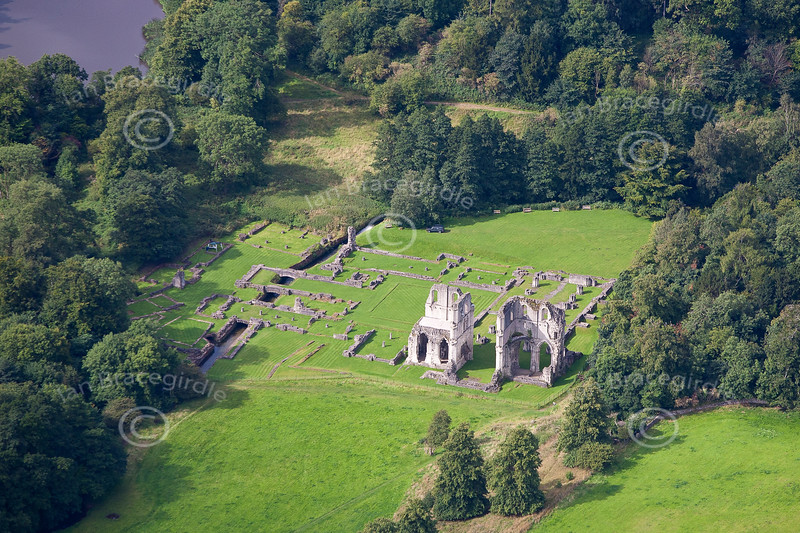 Aerial photo of Roche Abbey ruins.
