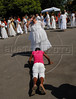 A Mae de Santo (Mother of saint), priestess of Afro-American religion, participates at a cult in front of a catholic church during celebrations of Saint George's Day, Rio de Janeiro, Brazil, April 23, 2009. Thousands of Catholics and worshippers of Afro-Brazilian religions pack churches dedicated to Saint George, widely venerated in Brazil as the African deity Ogum, the warrior god. (Austral Foto/Renzo Gostoli)