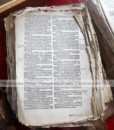 St Gwyndaf's, Llanwnda. Welsh bible dating from 1620.  It was said the church was vandalised by the French soldiers that landed landed nearby in 1797.