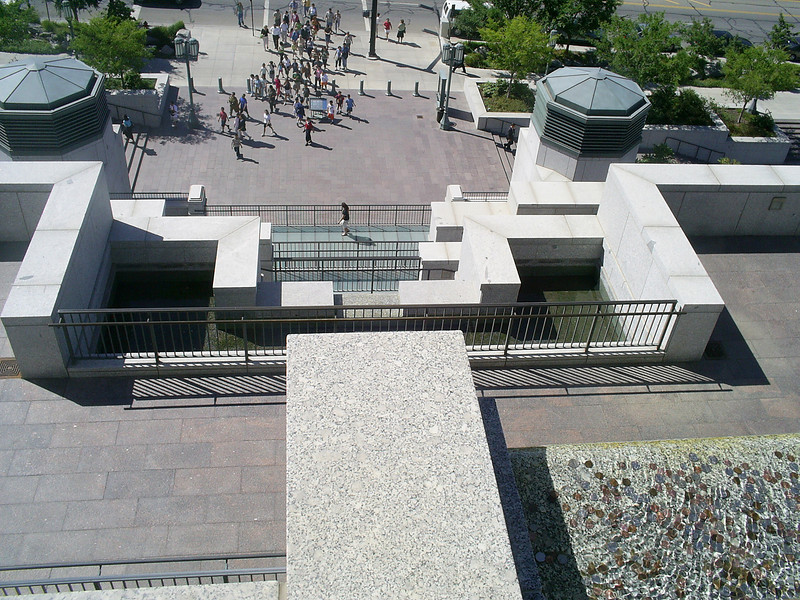 Looking down from on top of the conference center