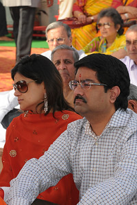 Mrs. Neerja Birla and Mr. Aditya Birla. Swami Tejomayanandaji, Chinmay Mission was the chief guest at the inauguration of the Ganesh Idol at Talegaon on 17th January 2009. Shri Mangal Moorati Moorya (Ganesh Idol) has been a dream project of Basant Kumar Birla and Sarala Birla. The beautifully sculpted idol of Ganesha, measuring 54 ft stands towering on a hillock astride the Pune-Mumbai express and NH-4. Designed by the famous sculptor Sri Matu Ram Verma and his son, Naresh Kumar Verma of Pilani, Rajasthan, it took three years of relentless hard work  to make this reinforced concrete idol which is covered with a copper coating.
