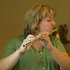 Flutist Leslie Schleman performing during Sister Marla Gipson's profession. Photo by Pat Morrison