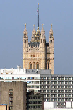 2 June 2011 The Victoria Tower at the south west end of the Palace of Westminster, from the tower of Southwark Cathedral.