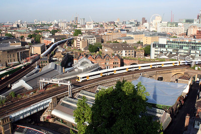 2 June 2011 Borough Market and railway viaducts, including the new Thameslink Viaduct from the tower of Southwark Cathedral.