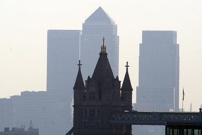 2 June 2011 North tower of Tower Bridge and Canary Wharf from the tower of Southwark Cathedral.