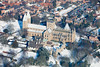 Southwell Minster in the snow from the air.