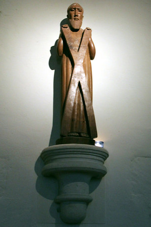 Statue of St Andrew on the south wall of the Chancel. 15 July 2011