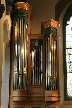 The south case of pipes of the Kenneth Tickle Organ installed in 2009.