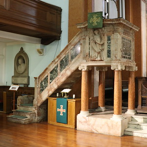 Pulpit (under which is a time capsule)