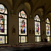 A view of the windows on the eastern side of the nave. The windows depict the Joyful Mysteries. St. Mary of the Assumption Church had all its stained glass windows restored and re-installed. The project cost nearly half a million dollars and 11 years of saving and planning.