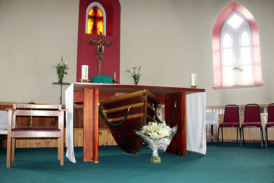 Altar with bow of lifeboat from aircraft carrier Hermes St Michael's Church, Haun, Eriskay 10 July 2011