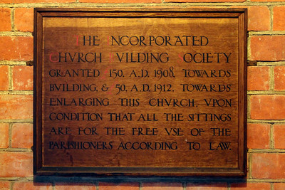 Finance plaque inside the south west door. 28 January 2012