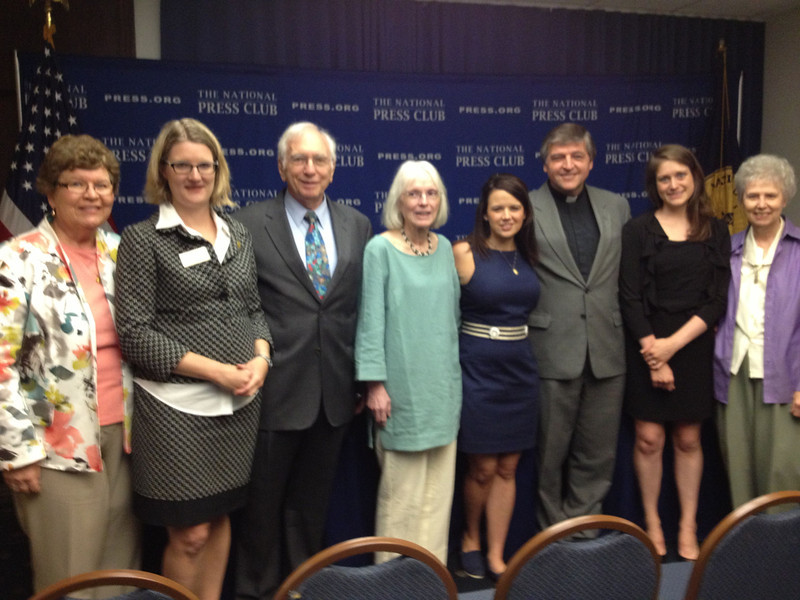 (L - R) Sr. Christine Schenk, Co-Founder and Executive Director of FutureChurch <br /> Angela Keane, President of National Press Club<br /> Ben Palumbo, Catholics in Alliance for the Common Good<br /> Dolly Pomerleau, Co-Founder, Quixote Center<br /> Erin Saiz Hanna, Executive Director Women's Ordination Conference<br /> Fr. Helmut Schuller<br /> Kate Conmy, Assistant Director, Women's Ordination Conference<br /> Sr. Jeannine Gramick, National Coaltion of American Nuns and Co-Founder, New Ways Ministry