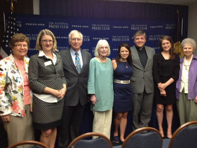 (L - R) Sr. Christine Schenk, Co-Founder and Executive Director of FutureChurch  Angela Keane, President of National Press Club Ben Palumbo, Catholics in Alliance for the Common Good Dolly Pomerleau, Co-Founder, Quixote Center Erin Saiz Hanna, Executive Director Women's Ordination Conference Fr. Helmut Schuller Kate Conmy, Assistant Director, Women's Ordination Conference Sr. Jeannine Gramick, National Coaltion of American Nuns and Co-Founder, New Ways Ministry