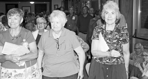 (L - R) Mary Ellen Creamer, Ann Julie White, Mary Ellen Norpel, and Joan Guckin at Chestnut Hill College outside of Philadelphia. Photo by Katharine Gilbert