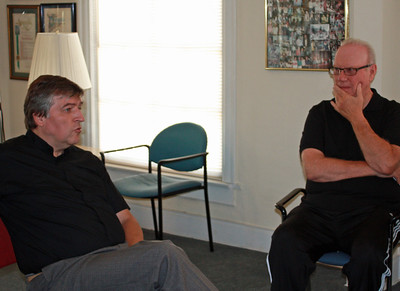 Fr. Helmut Schuller (left) and Fr. Kevin (Dignity/L.A. president) in Pasadena, CA